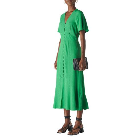 WHISTLES Green Micro Spot Button Dress