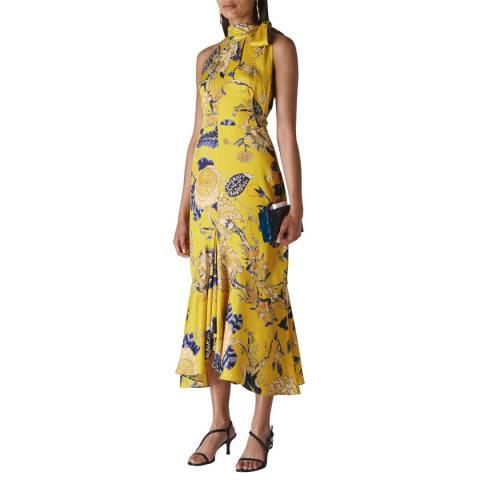 WHISTLES Yellow Exotic Floral Peria Dress