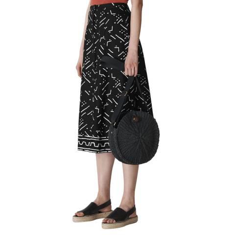 WHISTLES Black Print Linen Skirt