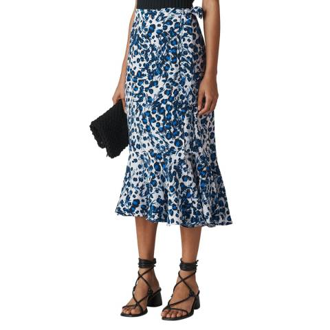 WHISTLES Blue Leopard Print Wrap Skirt
