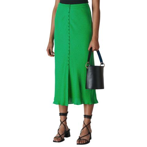 WHISTLES Green Micro Spot Button Skirt