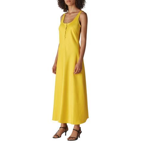 WHISTLES Yellow Pippa Satin Slip Dress