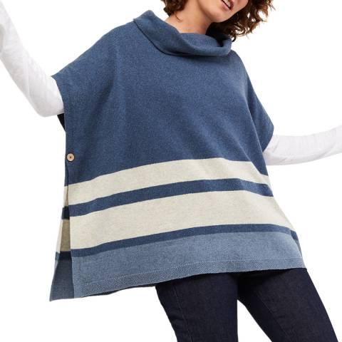 White Stuff Blue Stripe Poncho