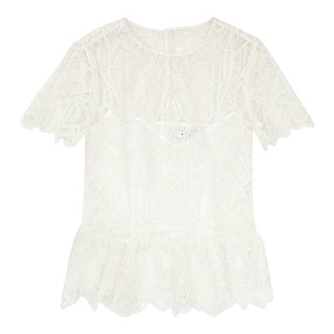 Reiss White Fiona Lace Top