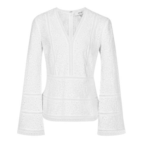 Reiss White Acelina Broderie Cotton Top