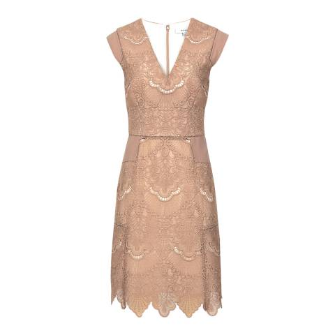 Reiss Nude Gemina Lace Dress