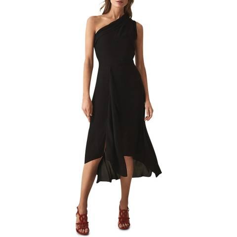 Reiss Black Ada Asymmetric Collar Dress