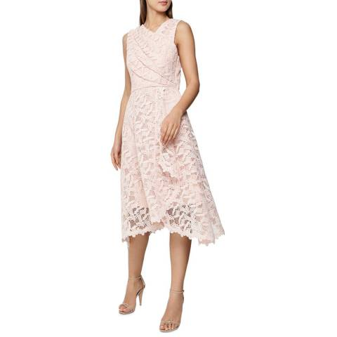 Reiss Blush Rayna Wrap Lace Dress