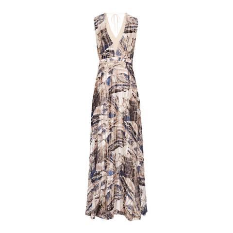 Reiss Blue/Multi Alix Marble Maxi Dress