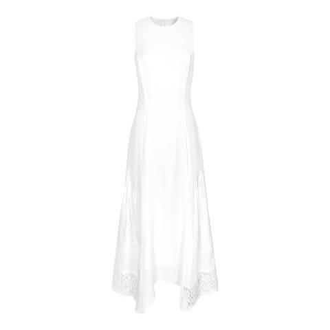 Reiss White Romi Lace Back Midi Dress