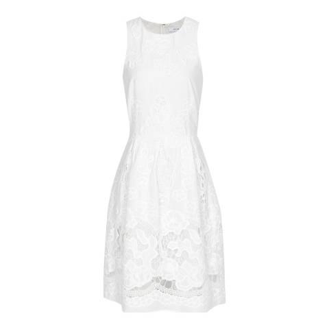 Reiss White Rosina Broderie Cotton Dress
