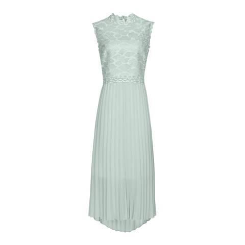 Reiss Mint Aideen Lace Pleat Dress