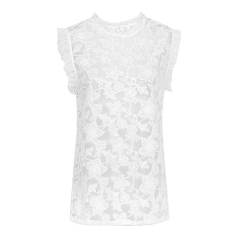 Reiss Off White Marina Lace Frill Top