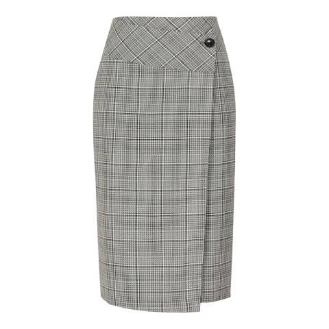Reiss Black/White Alenna Tailored Wrap Skirt
