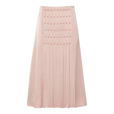 Reiss Pink Erin Eyelet Detail Skirt