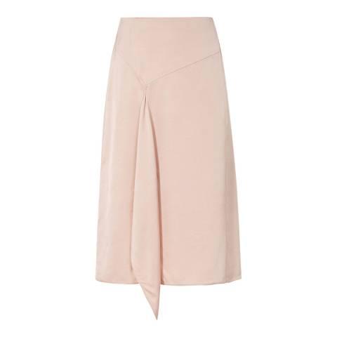 Reiss Rich Blush Julia Satin Drape Skirt
