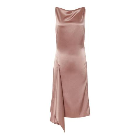 Reiss Pink Serenella Satin Drape Dress