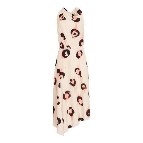 Reiss White Roya Abstract Leopard Dress