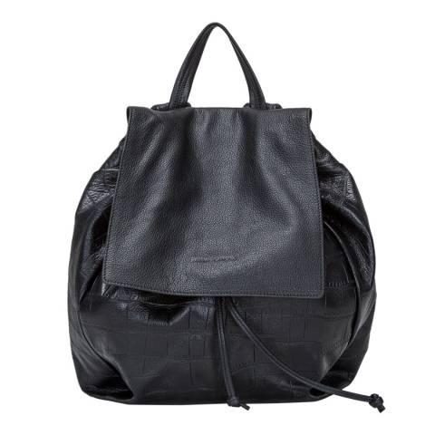 Smith & Canova Black Croc Drawstring Backpack
