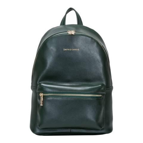 Smith & Canova Dark Green Smooth Zip Around Backpack
