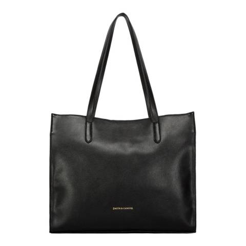 Smith & Canova Black Smooth Structured Tote