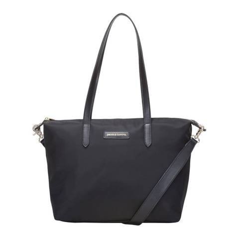 Smith & Canova Black Nylon Zip Top Tote Bag