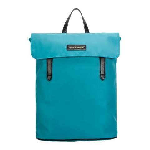 Smith & Canova Teal Nylon Flapover Backpack