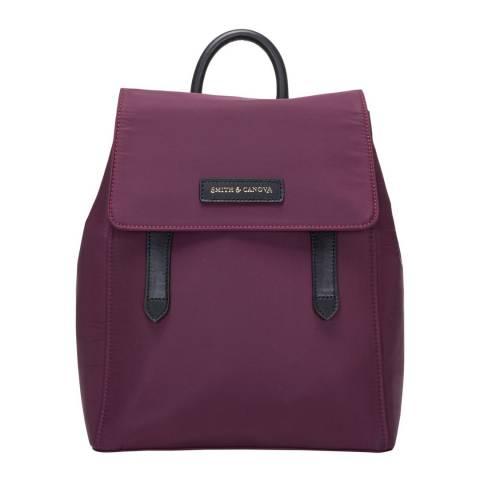 Smith & Canova Plum Nylon Structured Backpack