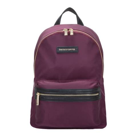 Smith & Canova Plum Nylon Zip Around Backpack
