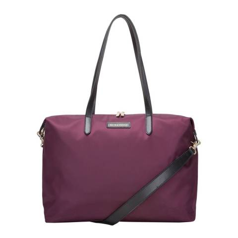 Smith & Canova Plum Large Nylon Zip Top Tote Bag