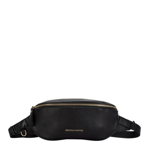 Smith & Canova Black Smooth Leather Zip Around Bum Bag