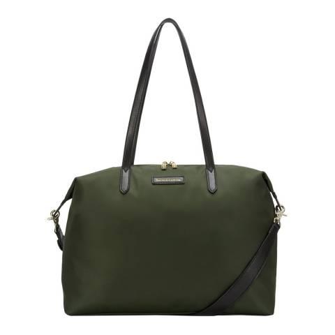 Smith & Canova Khaki Large Nylon Zip Top Tote Bag