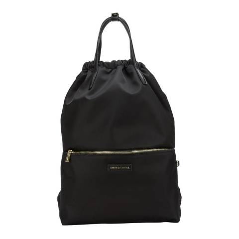 Smith & Canova Black Draw Top Front Pocket Backpack