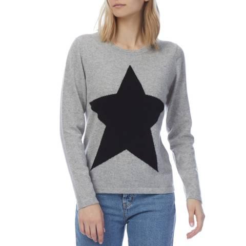 Scott & Scott London Grey Cashmere Star Print Jumper