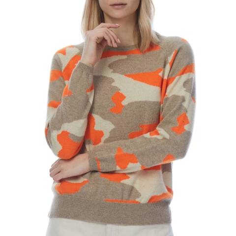 Scott & Scott London Beige/Orange Cashmere Camo Jumper