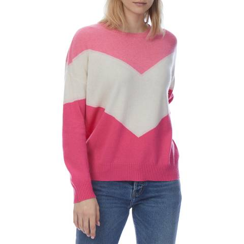 Scott & Scott London Pink Cashmere Chevron Jumper