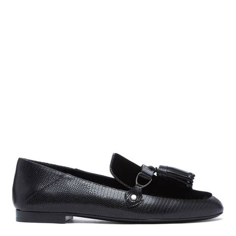Longchamp Black Croc Embossed Leather Loafers