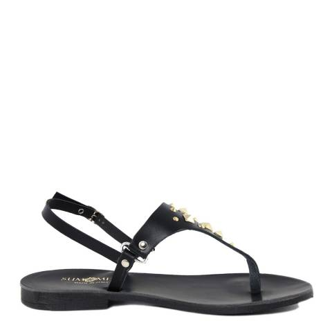 Summery Black Studded Leather Flip Flop Sandals