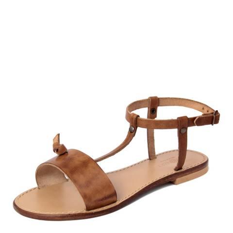 Summery Tan Leather T Bar Flat Sandals