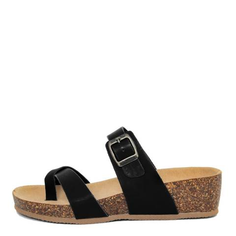 Summery Black Double Strap Wedge Footbed Sandal