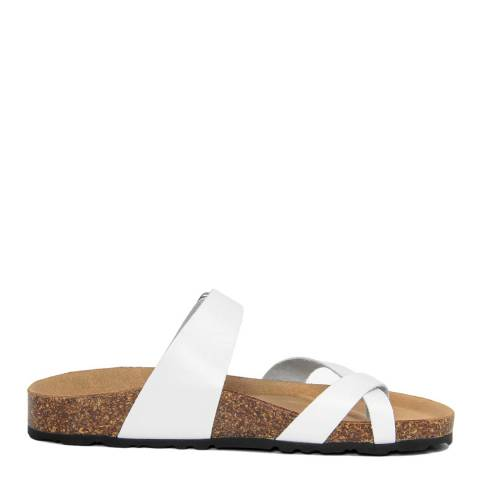 Summery White Toe Thong Double Strap Flat Sandals