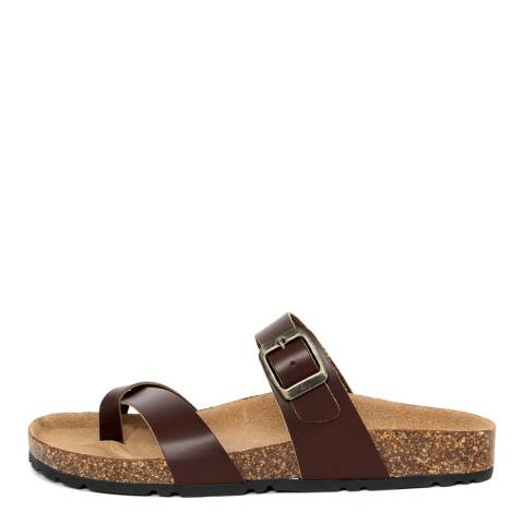 Summery Brown Crossover Strap Footbed Sandal