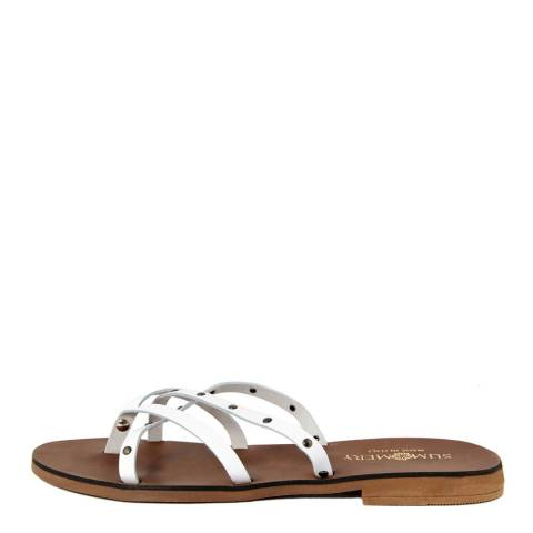 Summery White Leather Crossover Flip Flop