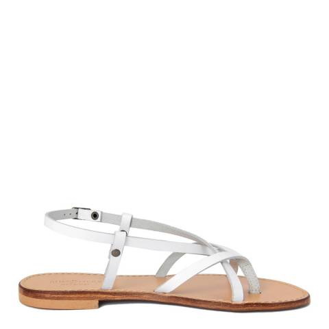 Summery White Leather Crossed Straps Flat Sandals