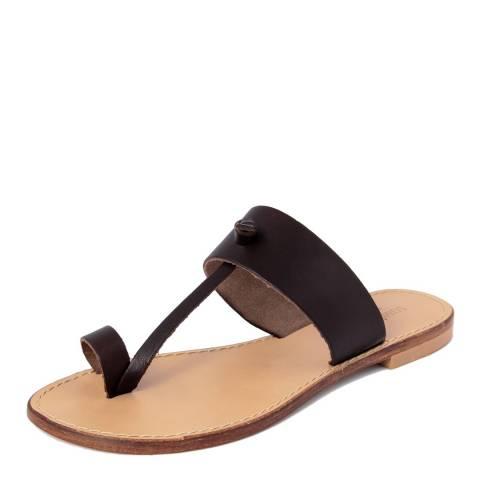 Summery Dark Brown Leather T Bar Flip Flop Sandals