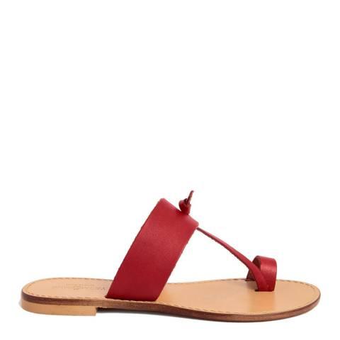 Summery Pink Leather T Strap Toe Loop Sandal