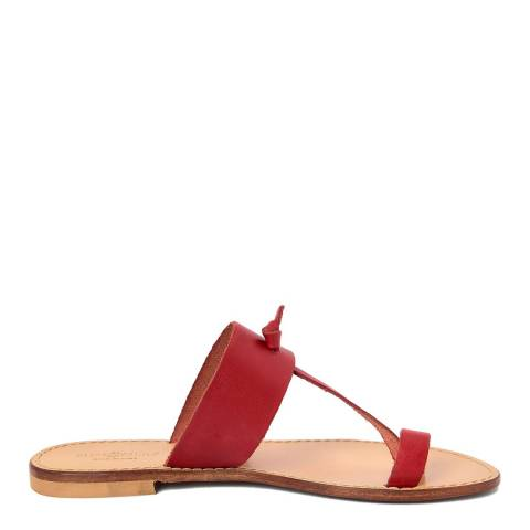 Summery Red Leather T Bar Flip Flop Sandals