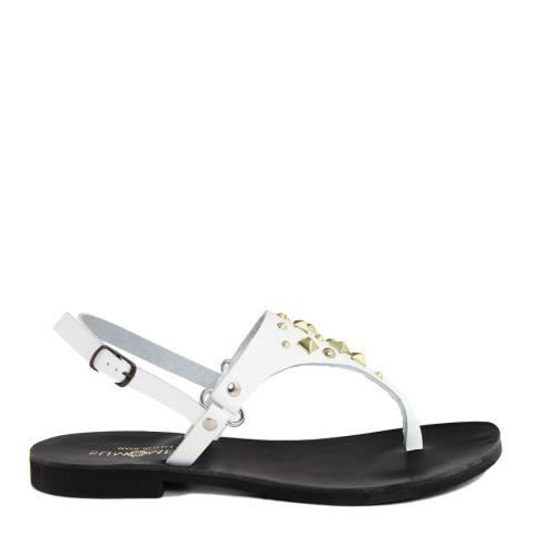 Summery White Leather Toe Post Sandal