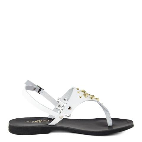 Summery White Studded Leather Flip Flop Sandals