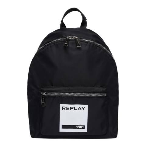 Replay Black Pocket Nylon Backpack